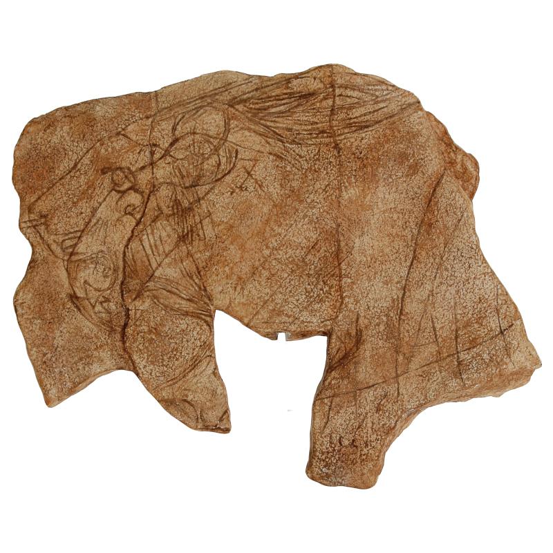 Plaquette gravée tête de lion